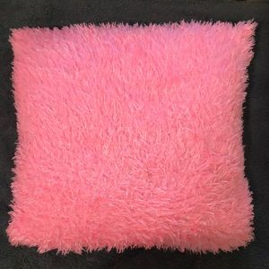 pink fluffy pillow